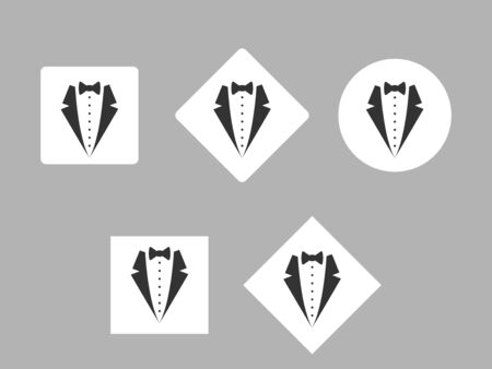 icon of the costume on a white circle and squares, flat design Stock Illustratie