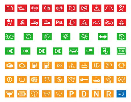 Visualization of control systems of the car. Set of 65 indicators for car dashboard, flat design