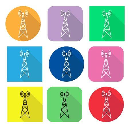 Icon set with transmitter, repeater and receiver mast on square and round color background, long shadow, Imagens
