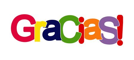 Colorful banner with the inscription THANK you! Lettering for design and decoration. Spanish language