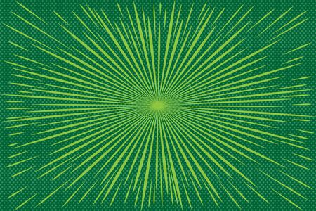Pop art green background with radial rays.  Background with halftones for comics. Textured background with radial halftone lines for posters, comics and cartoons 일러스트