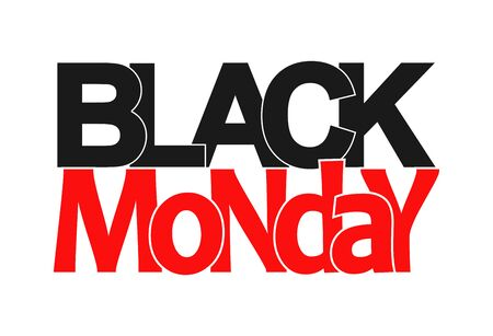 Red and black lettering Black MONDAY. Banner or icon for design or decoration.