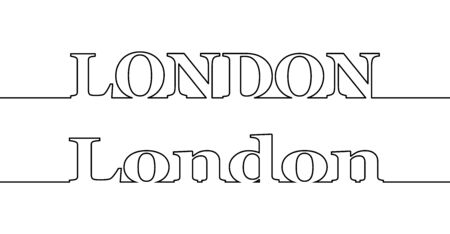 Contour line with the name of the city of LONDON in capital and capital letters. Flat design. Çizim