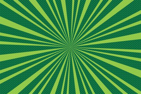 Pop art green background with radial lines.  Background with halftones for comics. Textured background with radial halftone lines for posters, comics and cartoons