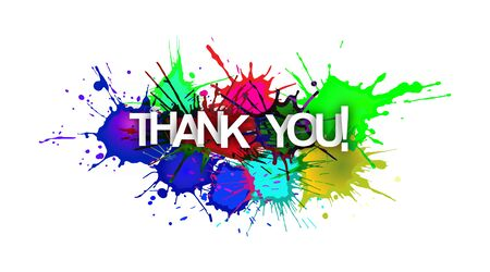 THANK YOU! The inscription on the background of colored spray paint. Flat design