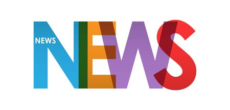 NOTIZIA. Banner colorato a colori, lettere minuscole, design semplice Vettoriali