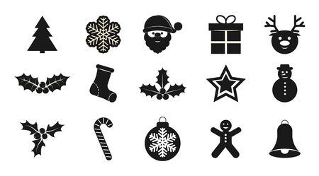 Set of Christmas icons for design and decoration. Flat design.