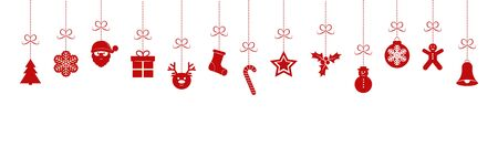 Hanging Christmas icons on transparent background. Flat design.