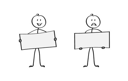 Two cartoon men holding posters, space for text. Flat design.