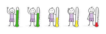 Emozioni e umore. Una serie di personaggi dei cartoni animati con un termometro. Design piatto.