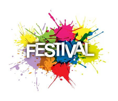 FESTIVAL. Word on a background of colored paint splashes.