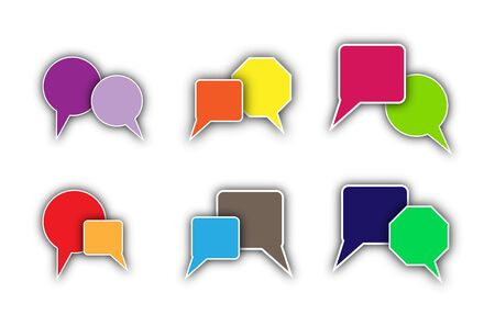 Colorful clouds for speech or dialogue or message. Illustration