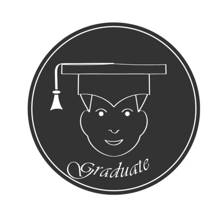 face of a young man in a hat graduate and graduate inscription, flat design