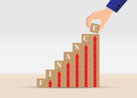 concept of financial growth or financial success, business. Hand is a ladder of cubes with up arrows and letters of the word FINANCE. Vektoros illusztráció
