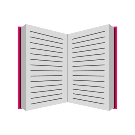 Open book with sheets. Simple flat design.