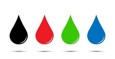 Set of color drops. Simple flat design.