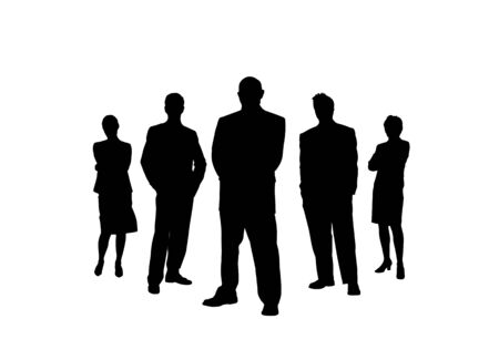 Business team. Silhouettes of men and women. Simple design