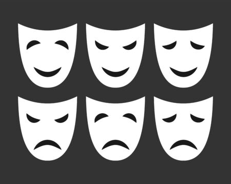 Set of white masks with different emotions, flat design.