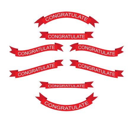 set of red ribbons of different shapes with the inscription Congratulate. Flat design