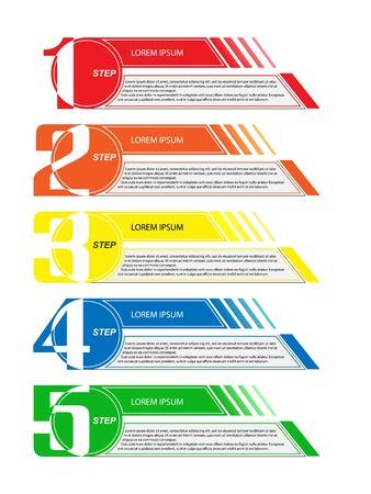 Infographics to illustrate the plan, strategy, business and financial development ideas. 5 steps to success. Flat design.