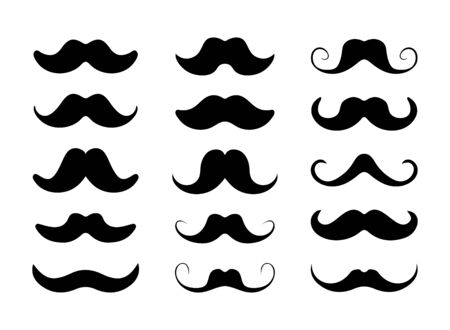 Mustache icon set, black and white flat design.