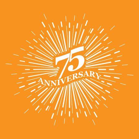 Congratulatory inscription for the anniversary of 75 years. Flat design.