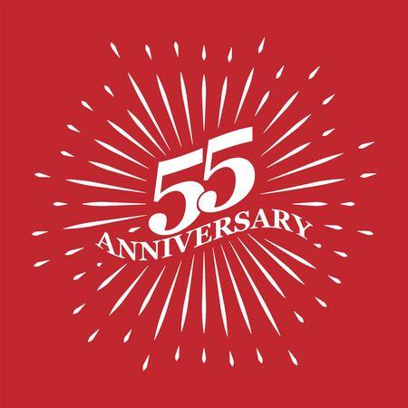 Congratulatory inscription for the anniversary of 55 years. Flat design.