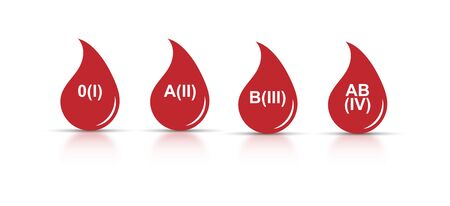 Set of icons. A drop of blood with a RH formula. Flat design.