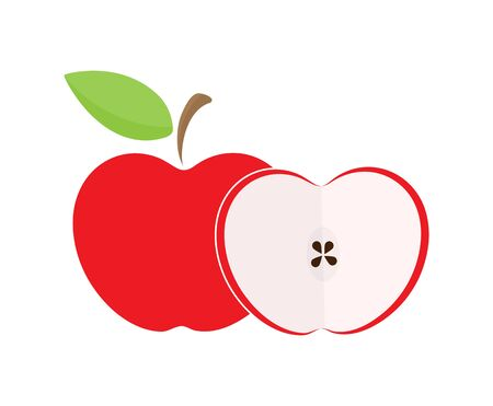 Coloured drawing of an Apple. A whole Apple and half an Apple.  イラスト・ベクター素材