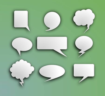 Set of white volumetric speech bubbles for messages chats and comics