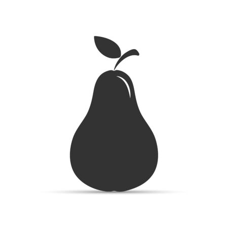 Whole pear, black and white pattern, simple design.Pear icon.