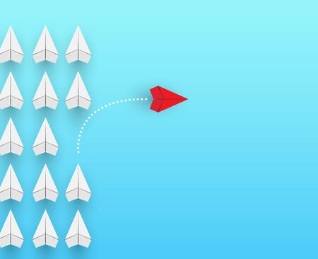 red airplane flies out of a group of white airplanes. Conceptual plot on the topic of business or career growth.
