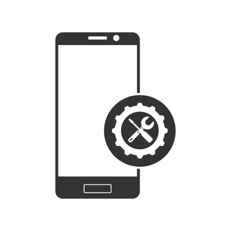 Repair or adjust the parameters of the smartphone. Simple icon. Silhouette of a smartphone with a gear, a wrench and a screwdriver. Фото со стока - 132087144