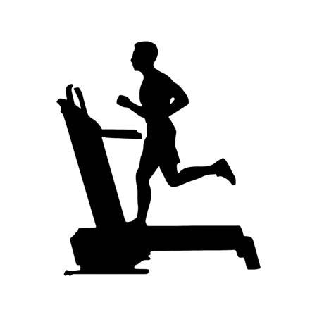 man runs on a treadmill. Flat silhouette. Flat design