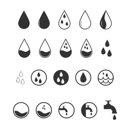 Set of different water icons for multifunctional purposes.