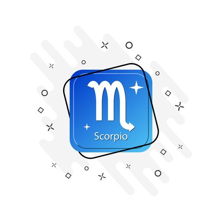 Blue button with scorpio zodiac sign symbol, flat design