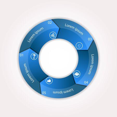 Plantilla de infografía para ilustrar un flujo de trabajo, diagrama, parámetros de procesos de negocio, estrategias y planificación. Ilustración de vector