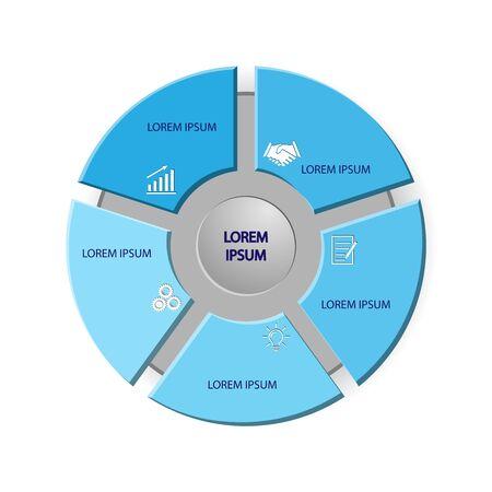Infografik-Vorlage zur Veranschaulichung eines Workflows, Diagramms, Geschäftsprozessparameters, Strategien und Planung.