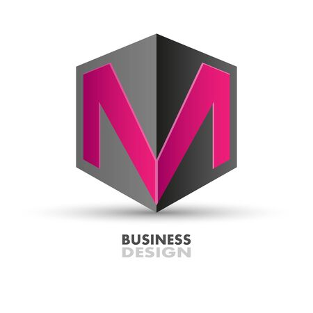 letter M on the polyhedron. Business design for company logo. The letter M on the polyhedron Stock Illustratie