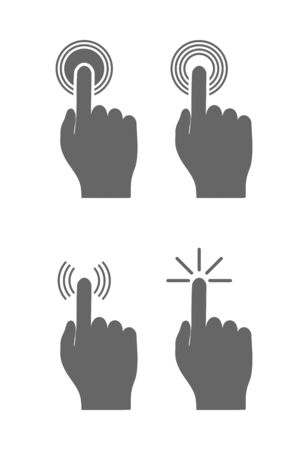 Set of icons. touch buttons with your finger. Simple design 向量圖像