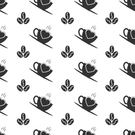 Seamless pattern with coffee Cup and coffee beans. The ideal solution for textile, packaging, paper printing, plain backgrounds and textures.