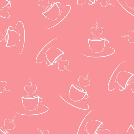 Seamless pattern with coffee or tea Cup and heart Perfect for textiles, packaging, paper printing, simple backgrounds and texture.