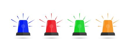 Set of color icons of flashing beacons. Flat simple design.
