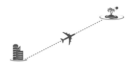 Icon of the way of the plane from the city to the sea on vacation. The route of the aircraft. Flat simple design. Stock Illustratie