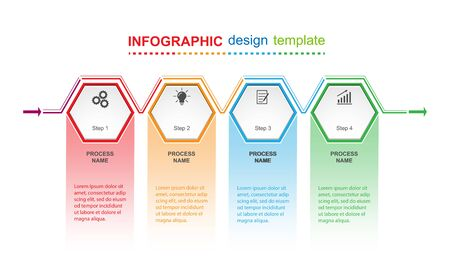 Infographic design template. Four steps to business success, training or promotion. Flat design. Stock Illustratie