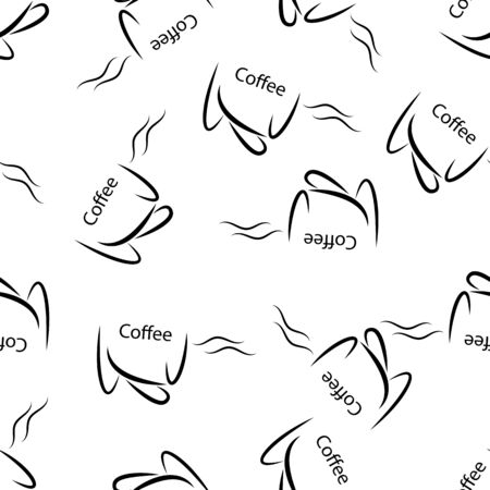 Seamless pattern with coffee Cup and coffee beans. The ideal solution for textile, packaging, paper printing, backgrounds, Wallpapers and textures. Stock Illustratie