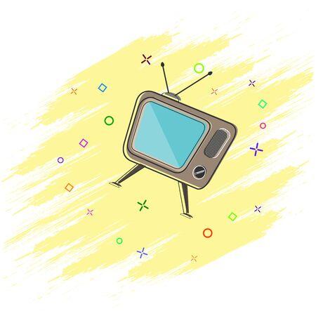 Cartoon TV with kinescope. Splash effect. Flat design.