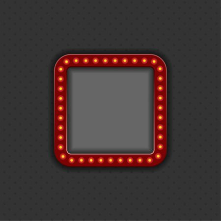 Frame with light bulbs and with space for text or photo. Dark background.
