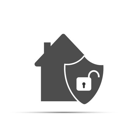 House icon, and a shield with an open lock. Flat simple design.