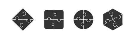 Set of puzzle icons of different shapes. Flat simple design.